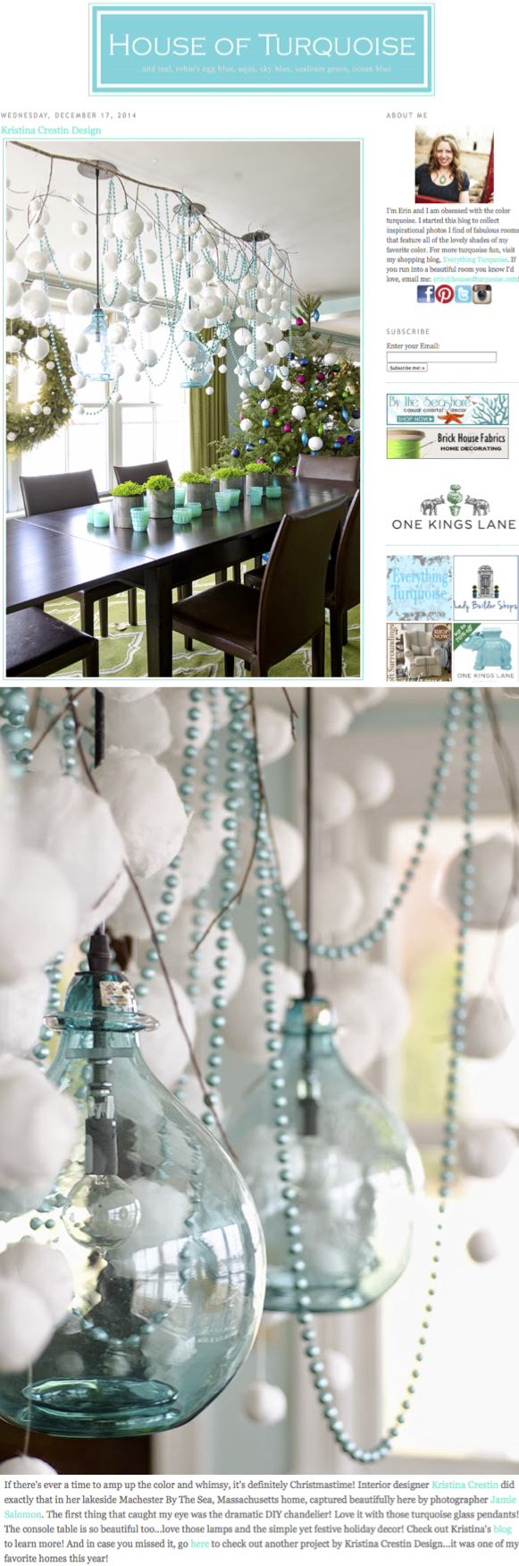 Fabulous Kristina Crestin Turquoise Facebook House Turquoise Blog Turquoise Features My Holiday Decorating House Turquoise Home Tour House houzz-03 House Of Turquoise