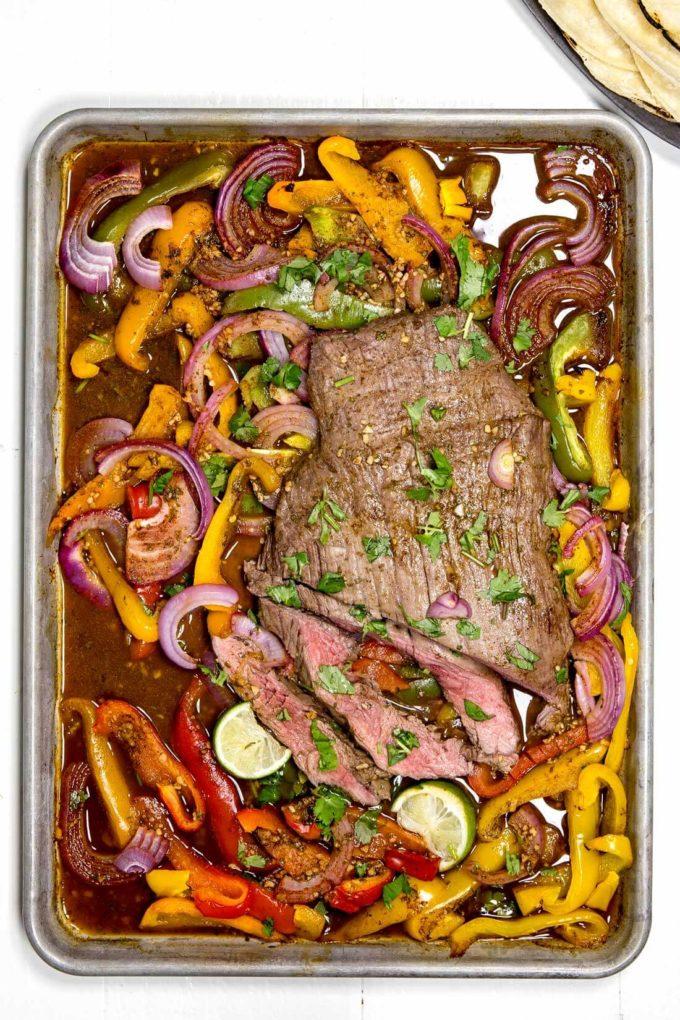 Natural Sheet Pan Flank Steak Fajitas Sheet Pan Flank Steak Fajitas Easy Peasy Meals Flank Steak Oven Temperature Flank Steak Oven Baked nice food Flank Steak Oven
