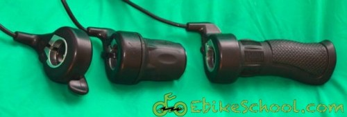 Three different electric bicycle throttles half twist full twist and thumb throttle