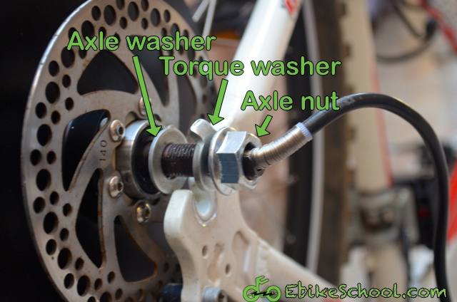 hub motor washers and hardware installation order