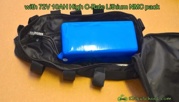 72V pack in electric rider triangle frame bag