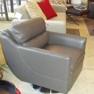 Moroni leather swivel in dark grey. $1495 floor sample $1399