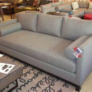 Bellevue condo sofa woolco graphite espresso wood base, coil bench seat, trillium back pillows.  $2540. Floor model $2290.