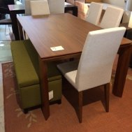 "Omnia walnut dining table  70-94.5""W x 39.5""D x 30""H Extension table seats up to 12.   Floor Model $1799"