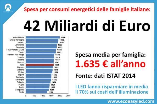 Spesa per consumi energetici 42 miliardi