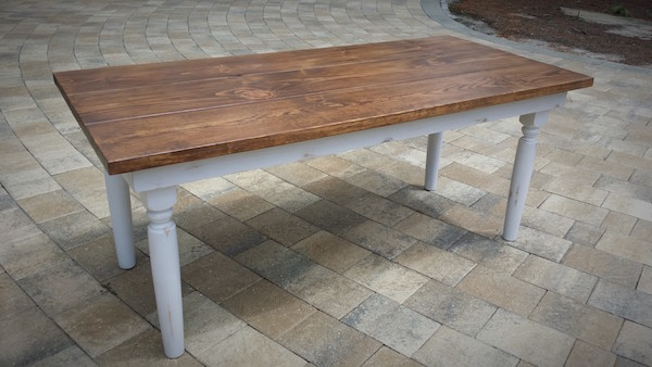 2 toned table with spindle legs