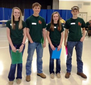 STHS FFA Tool Identification Team. (L-R): Mallory Fulmer, Henry Cartrett, Alana Thurmond, and Austin Hall.