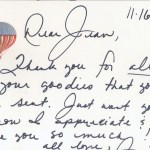 Personal note of thanks from Janie to Jean.