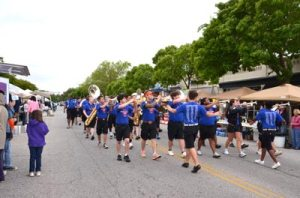 The award-winning Strom Thurmond High School Band performs during the parade at last year's Peach Blossom Festival.