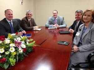"At the head of a ""roundtable"" of leadership in the health profession, Edgefield County Hospital CEO Clary seeks improved coordination of care. L-R: Thornton Kirby, Tony Keck, Brandon Clary and Kelly Cox."