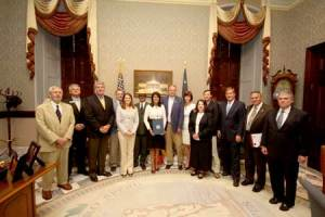 John Sands (Gaylord Donnelley Foundation), Woody Woodruff (Wildwater, Ltd.), Tom O'Rourke (Charleston County Parks), James Headley (SC Recreation & Parks Association), Lauren Ponder (South Carolina National Heritage Corridor), John Slaughter (National Park Service), Governor Nikki R. Haley, Alvin Taylor (SC Department of Natural Resources), Michelle McCollum (South Carolina National Heritage Corridor), Holly Beaumier (Florence CVB), Jason Burbage (SC Wildlife Federation), Hugh Weathers (SC Department of Agriculture), D. Glenn McFadden (SC Department of Natural Resources), Tim Rogers (Friends of the Edisto)   Also present, not shown: Amy Duffy and Marion Edmonds (SC Department of Parks, Recreation & Tourism)