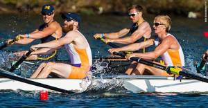 McNamara and Wherry (front pair), USA team, in spring heat.