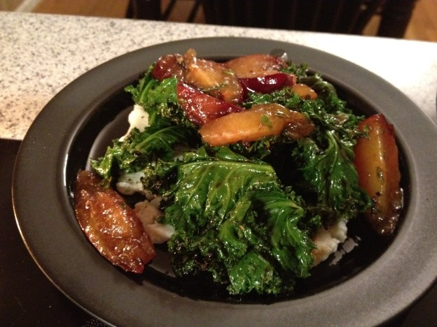 Grilled Kale Salad with Ricotta Cheese and Plums