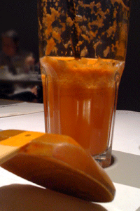 Raw juice: all the juiced carrot you can drink. And a touch of ginger.
