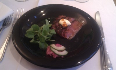 Treacle Cured Salmon with Pickled Red Onion and Cucumber