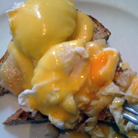 Eggs Benedict with smoked haddock at the West Room. Bliss!