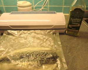 Vacuum sealing the fish