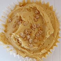Burnt butter cup cake with toffee icing. And sprinkles...