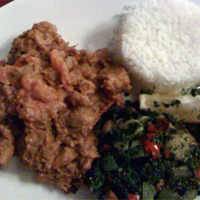 Pork ularthu, one of the chef's signature dishes.