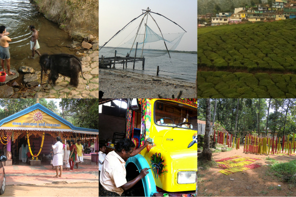 Chinese fishin nets; tea plantation; holy festival; painting trucks, rubber bands drying