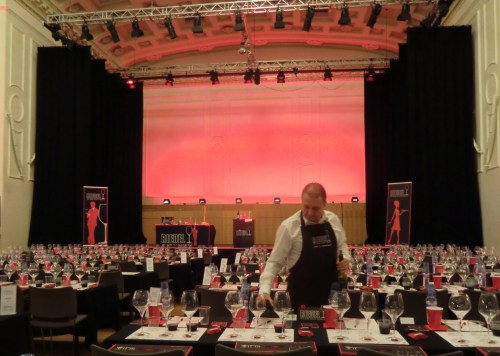 Setting up the Riedel tasting - Assembly Rooms