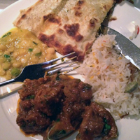 Shatkora lamb with tarka dahl, pilau rice and stuffed paratha. Yum!