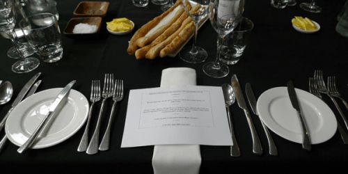 An attractive place setting and a promising menu at Ginger Snap's pop-up restaurant in Leith.