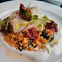 Coley and couscous at A Room in Leith- meaty yet light