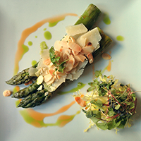 Asparagus with truffle oil, parmesan and almonds at La P'tite Folie. Spring on a plate.