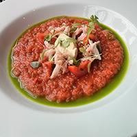Crab gazpacho with avocado cream at The Magnum, Edinburgh.