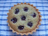 Sour cherry and pistachio tartlet