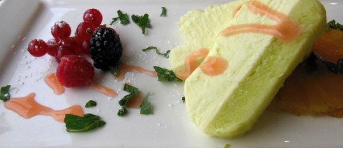 Green apple parfait with poached pineapple