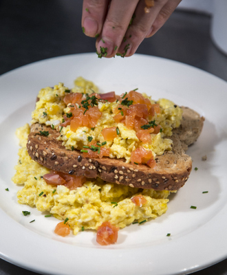 Organic eggs and smoked Salmon. Copyright Brendan MacNeill