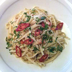 Crab and chilli linguine is tasty any time of year.