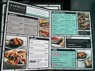 The Pizza Express Express Lunch menu has a good range of dishes at reasonable prices.