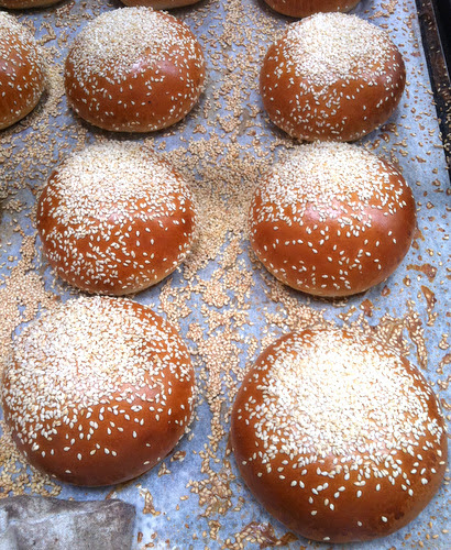 Sesame burger buns made with brioche dough