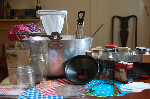 All the equipment you need to make jam.
