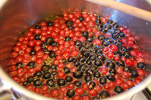 Simmer redcurrants and blackcurrants for two minutes.