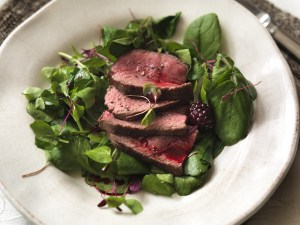 Venison with blackberry sauce