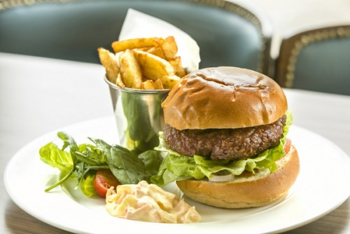 The Riparian Rooms Burger with hand-cut chips and chunky coleslaw. Brendan MacNeill