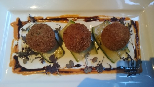 Black pudding and goats and cheese bon bons