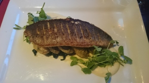 Sea bass and tempura aubergine