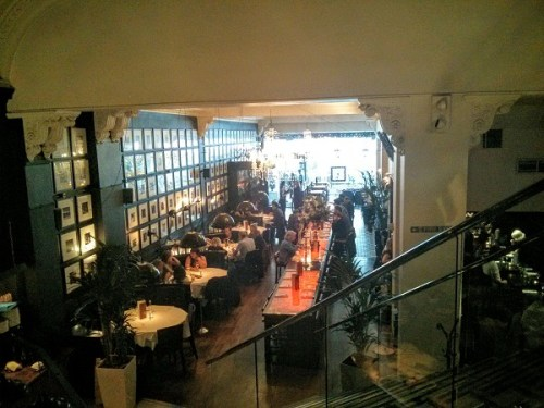 View from the mezzanine - note the lit up table in the centre