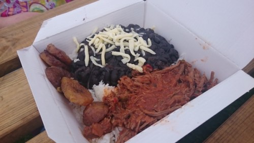 Rice, beans and pulled beef