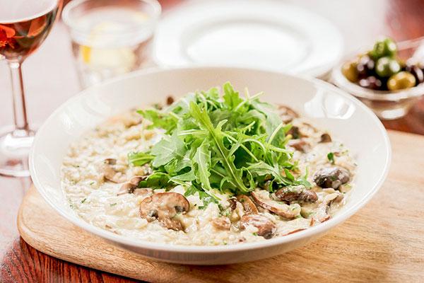Truffle-oil scented mushroom risotto.