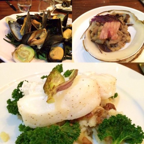 Mussels and soft shell clams, Mahogany clams, Cod with birch salt