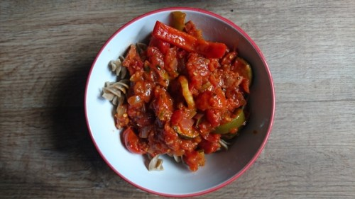 Bugsolutely cricket pasta with tomato sauce