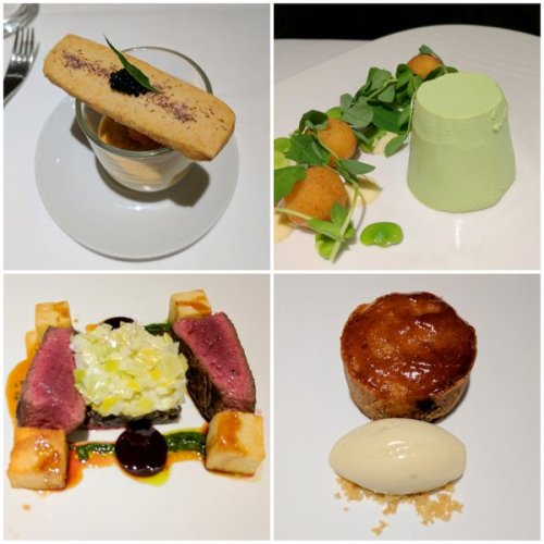 Lobster Thermidor créme brulé, pea panacotta, venison with haggis and creamed leeks and rowan berry bakewell.