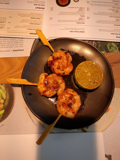 Lollipop prawn kushiyaki
