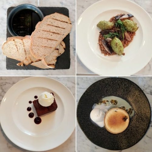 Sourdough and oil, broccoli fritters with spelt, chocolate and blackcurrent brownie, passion fruit tart.